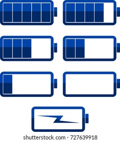 Battery icons.Blue color. Set. Vector