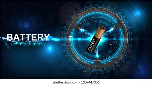 Battery illustration with electric charge, power supply rechargeable battery graphic rendering. Web page, energy concept. Futuristic design with electric charge. Vector illustration