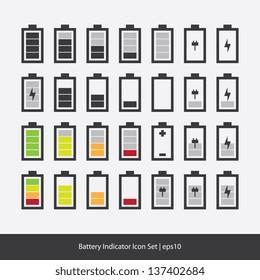 Battery Indicator Icon Set