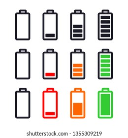 battery indicator set icon vector