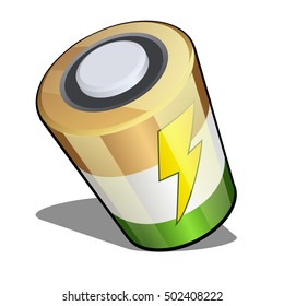 Battery in isometric projection isolated on a white background. Vector illustration.