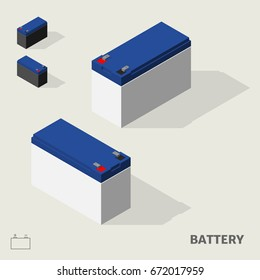 Battery in isometric view with shadow including with symbol.