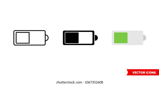 Battery level icon of 3 types: color, black and white, outline. Isolated vector sign symbol.