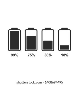 Battery level indicators. Flat battery icons for design.
