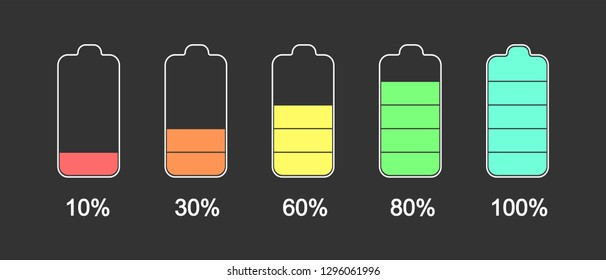 Battery level on a black background. Battery charge from 10% to 100%.