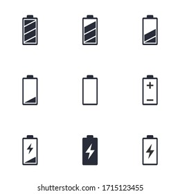 battery life icon set, battery charge indicator