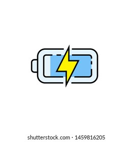 Battery line icon. Electrical charge symbol. Recharge sign. Vector illustration.