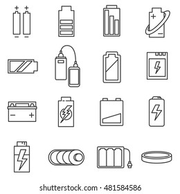 battery linear icons set. accumulators collection
