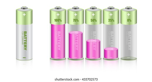 Battery load illustration isolated on white background, vector.