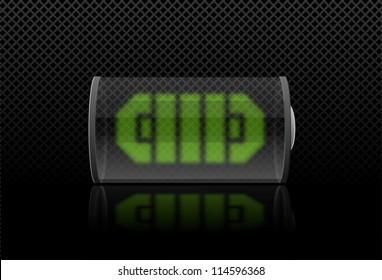Battery load illustration  on black background  (vector illustration)