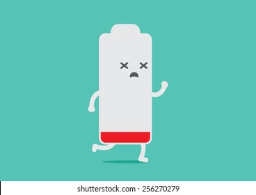 Battery low energy to running in flat cartoon version