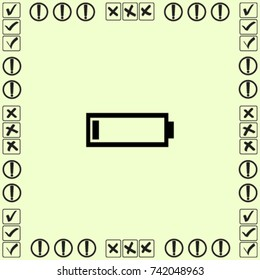 Battery low icon, accumulator vector illustration