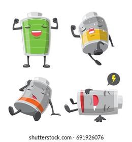 Battery man action cartoon collection - vector illustration