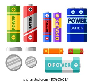 Battery pack. Primary cells or non-rechargeable batteries. Secondary cells or accumulators. Car battery. Illustration of the strength of the bank.vector.