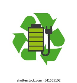 battery and plug over recycle sign over white background. colorful design. vector illustraiton