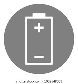 Battery with plus minus symbols. Round button. Vector icon.