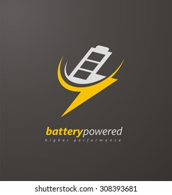 Battery power logo design layout. Energy concept. Creative icon template with flash symbol.