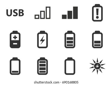 Battery and Power vector icons for user interface design