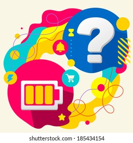 Battery and question mark on abstract colorful splashes background with different icon and elements. Flat design for the web, print, banner, advertising.