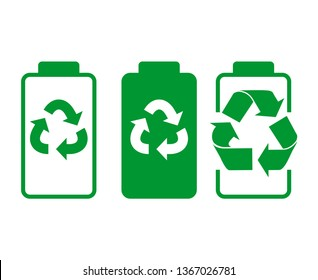 Battery Recycling Icon. Battery image and recycling symbol in green. Icon for battery pickup. Linear Vector Flat Image