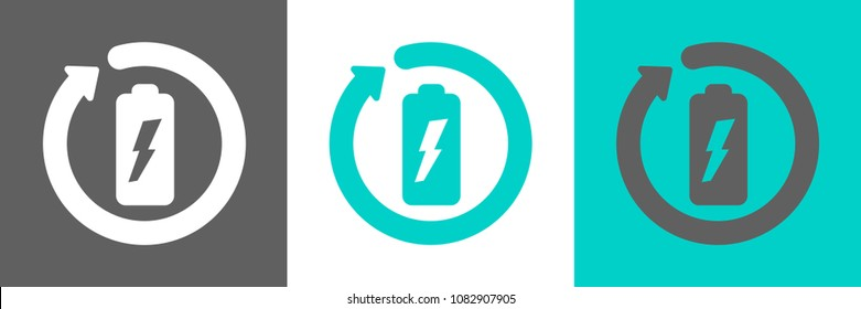 Battery recycling vector logo.
