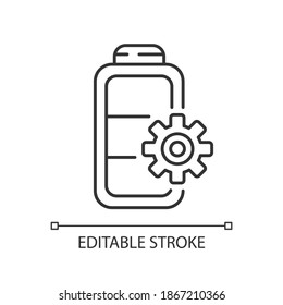 Battery settings linear icon. Installing right rule for device usage. Controlling amount of power. Thin line customizable illustration. Contour symbol. Vector isolated outline drawing. Editable stroke