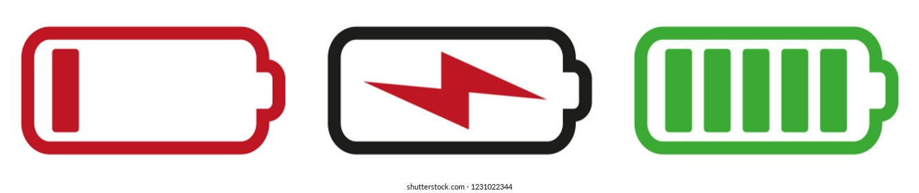 battery symbol set with states empty, charging and completely charged vector illustration