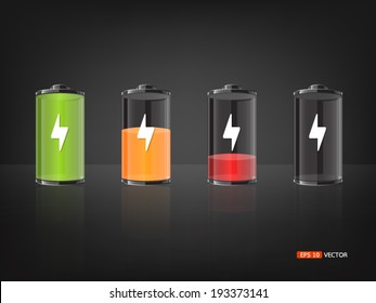 Battery with various loads and colors, vector eps 10