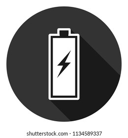 Battery vector icon, accumulator charge battery vector sign design, battery energy vector icon. Accumulator charge icon. Gray background with shadow.