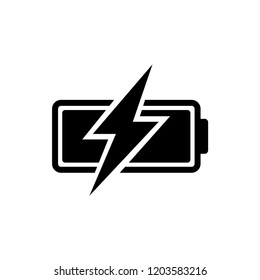 Battery vector icon, charge symbol. Simple, flat design for web or mobile app