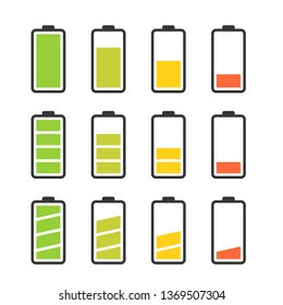 Battery vector icon set with colorful charge level indicators. Flat simple icons