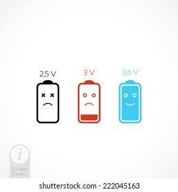 Battery Vector icon set. information on lithium-ion batteries