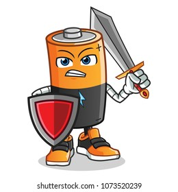 battery warior holding sword and shield mascot vector cartoon illustration