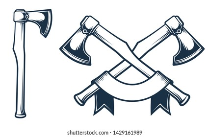 Battle ax in stamp style. Crossed axes - vintage emblem. Vector illustration.