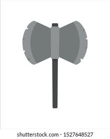 An battle axe with a black handle.