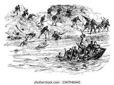 Battle of Ball Bluff is also known as the Battle of Harrison Island or the Battle of Leesburg, vintage line drawing or engraving illustration.