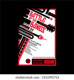 battle of the bands  slogan for T-shirt printing design and various jobs, typography, vector.