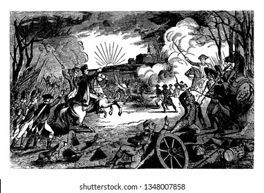 Battle between General George Washington's revolutionary forces and British forces,vintage line drawing or engraving illustration.