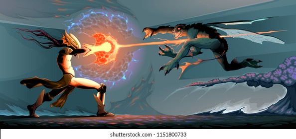 Battle between magician elf and reptilian monster. Cartoon vector fantasy illustration