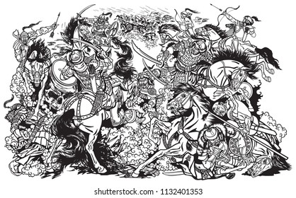 Battle between Mongols clans and tribes .Time of Genghis Khan .Medieval Asian cavalry warriors fighting with swords and nomads archery shooting a bow and arrows. . Black and white vector illustration