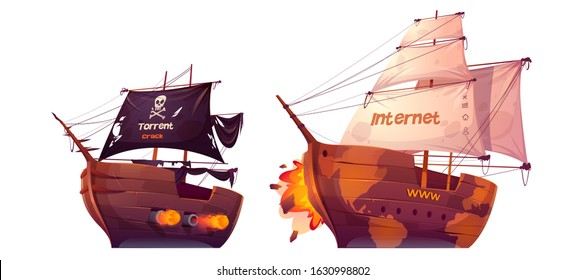 Battle between torrent and internet. Vector cartoon pirate ship attacks sail boat isolated on white background. Concept of fight between computer websites and free download services