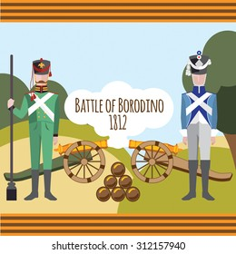 Battle of Borodino. Russian and French artilleryman with artillery cannon. Vector flat design. Tunic and quiver - the traditional military uniform in the Russian-French War of 1812
