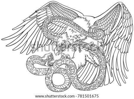 battle eagle serpent snake outline tattoo のベクター画像素材
