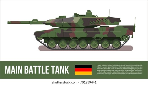 Battle german tank modern in forest camouflage