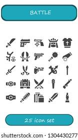 battle icon set. 25 filled battle icons.  Simple modern icons about  - Weapons, Gun, Samurai, Armour, Hip hop, Sword, Weapon, Cannon, Katana, Sabers, Spear, Champion belt, Medieval