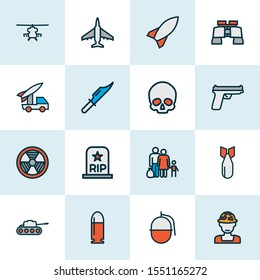 Battle icons colored line set with artillery, gun, military helicopter and other cranium   elements. Isolated vector illustration battle icons.