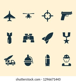 Battle icons set with bomb, artillery, rocket and other weapons elements. Isolated vector illustration battle icons.