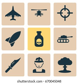 Battle Icons Set. Collection Of Target, Chopper, Military And Other Elements. Also Includes Symbols Such As Atom, Mechanism, Rocket.