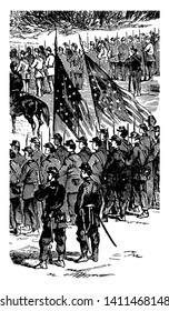Battle of Malvern Hill also known as Battle of Poindexter's Farm vintage line drawing.