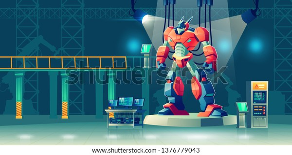 Battle robot transformer in science laboratory. Robotics and artificial intelligence technologies cyborg, military combat exoskeleton character, alien cybernetic warrior. Cartoon vector illustration